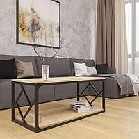 Стіл журнальний Ромбо в стилі Лофт у вітальню з металу Метал-Дизайн