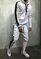 Спортивный костюм мужской, белый, худи+штаны  (Реплика)