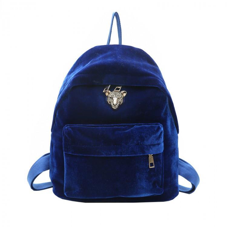 Женский велюровый рюкзак Adel Leopard синий eps-8062