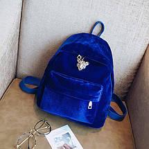 Женский велюровый рюкзак Adel Leopard синий eps-8062, фото 3
