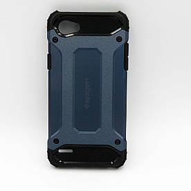 Чехол накладка для LG Q6 M700 противоударный силиконовый с пластиком, SPIGEN, темно-синий