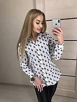 Принтованная женская хлопковая рубашка 53392