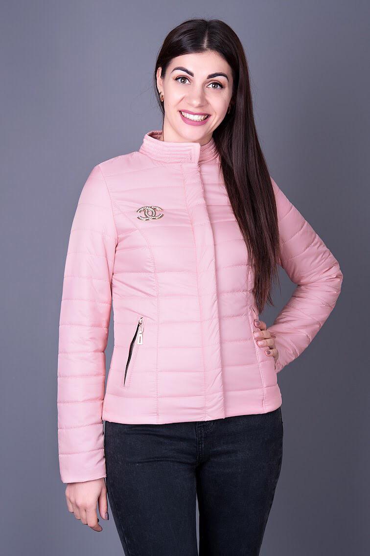 0ecd6525129 Женская куртка цвета пудра воротник стойка