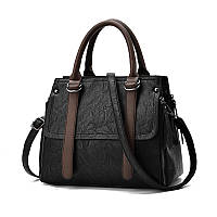 Стильная вместительная женская сумка черного цвета, фото 1