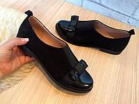 """Туфли """"Бантик"""" черные натуральная замша и лак код 2708, фото 1"""