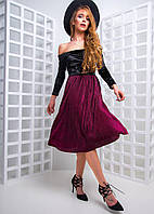 Платье с плиссированной юбкой и открытыми плечами 97773