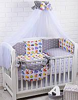 """Детский постельный комплект Asik 8 эл-в  """"Мультики"""" № 277, серый, фото 1"""