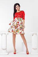 Платье с гипюровым верхом и расклешенной цветочной юбкой 777791