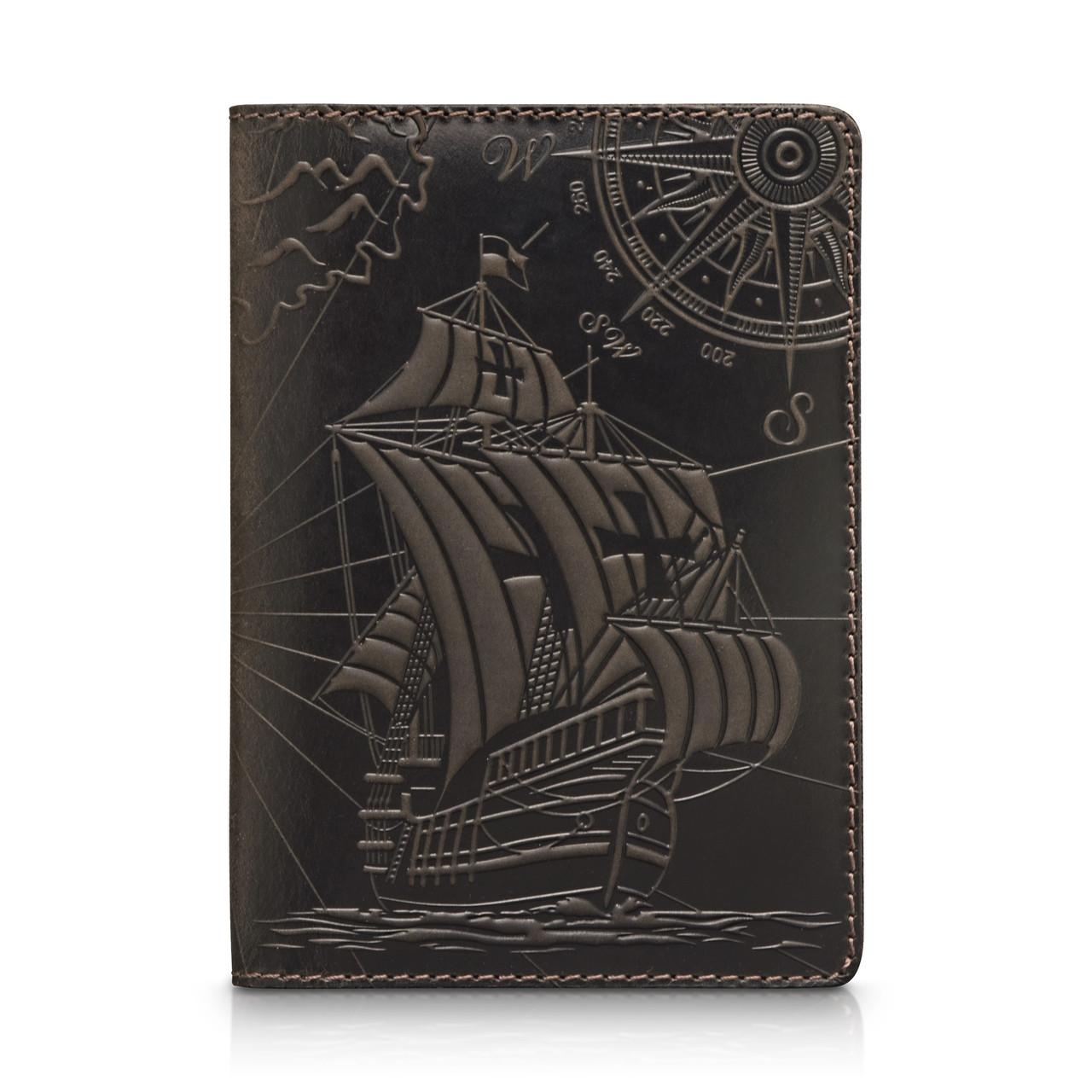 """Оригинальная кожаная коричневая обложка для паспорта с художественным тиснением """"Discoveries"""""""