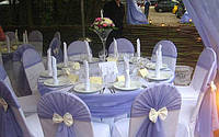 Аренда чехлов на стулья, скатертей, юбок, оформление тканями, шарами, цветами