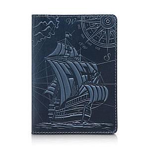 """Дизайнерская кожаная обложка для паспорта голубого цвета, коллекция """"Discoveries"""""""