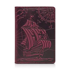 """Фиолетовая дизайнерская кожаная обложка для паспорта, коллекция """"Discoveries"""""""