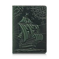 """Оригинальная кожаная обложка для паспорта с отделением для карт зеленого цвета с художественным тиснением """"Discoveries"""""""