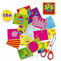 Набор для творчества Ses Учусь вырезать (16 картинок для игры, безопасные детские ножницы)