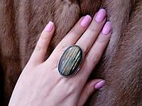 Яркое кольцо с натуральным камнем лабрадор в серебре. Кольцо с лабрадором., фото 1