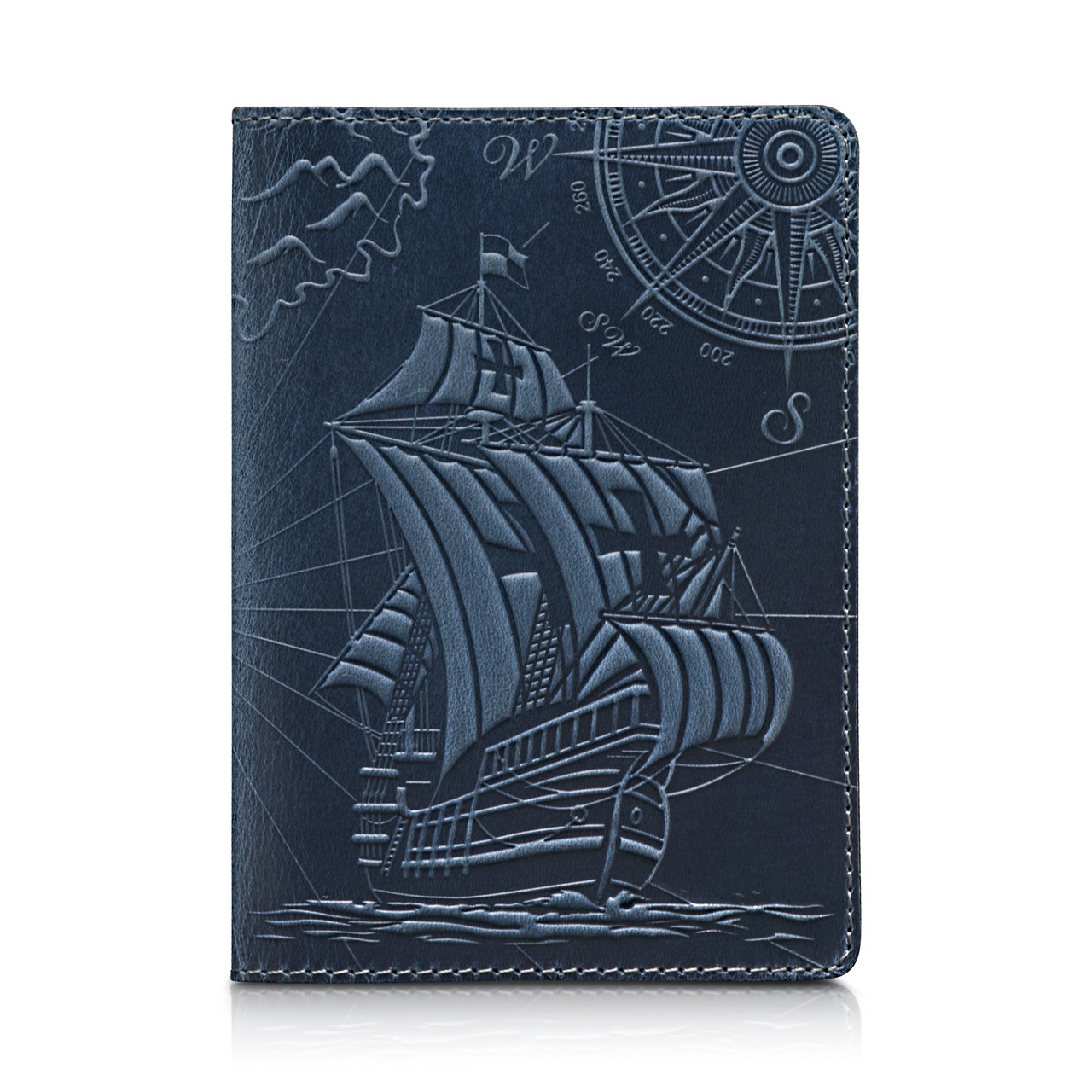 """Дизайнерська шкіряна обкладинка для паспорта з відділенням для карт блакитного кольору, колекція """"Discoveries"""""""