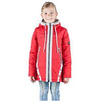 Демисезонная детская куртка Оля красный-серый (30-38)