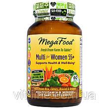 MegaFood, Комплекс мультивитаминов и минералов из цельных продуктов для женщин старше 55 лет, без железа, 60 т