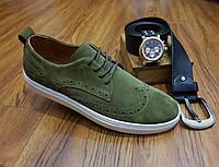 Стильные замшевые повседневные туфли слипоны