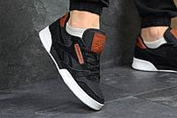 Кроссовки мужские в стиле Reebok Workout - black, материал - замша + сетка, подошва - прошита