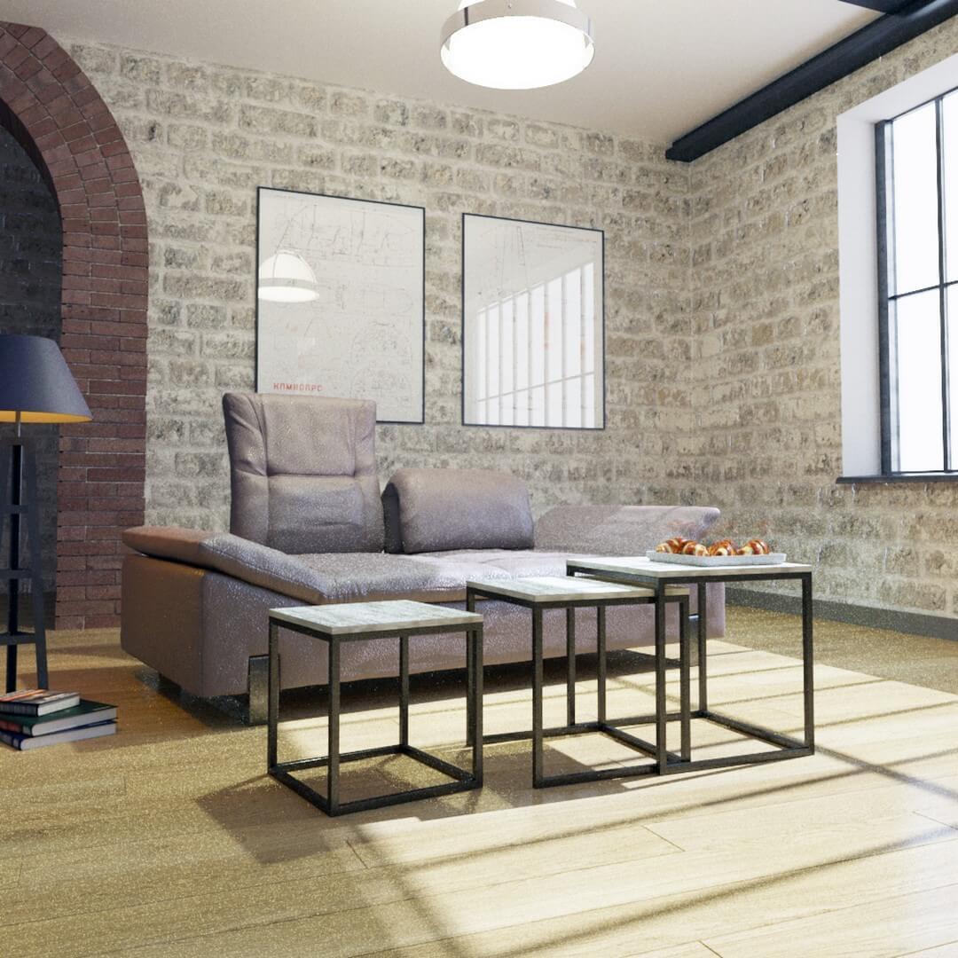 Стіл журнальний в стилі Лофт у вітальню Кубо Метал-Дизайн