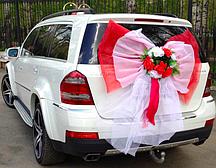 Бант Красно-белый с цветами, свадебный бант на машину (101)