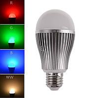 Светодиодная лед лампочка MiLight RGBW (Wi-Fi) 9W WW E27