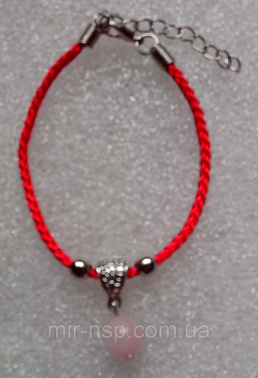 Красная нить оберег натуральный камень Розовый Кварц 10 мм