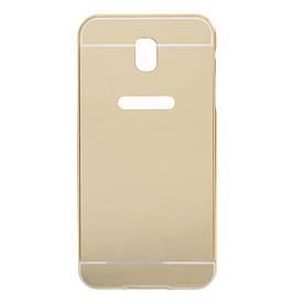 Чехол бампер для Samsung Galaxy J3 2017 J330 металлический со съемной зеркальной крышкой, Золотистый