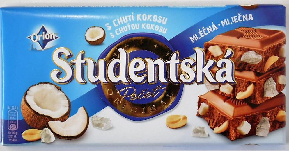 Шоколад Studentska 180гр. молочный с кокосом