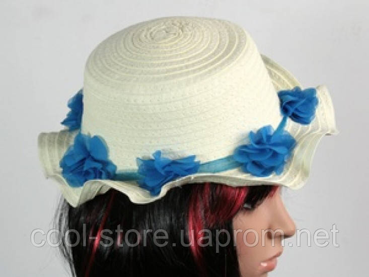 Соломенная шляпа детская Флюе 26 см бело-синяя