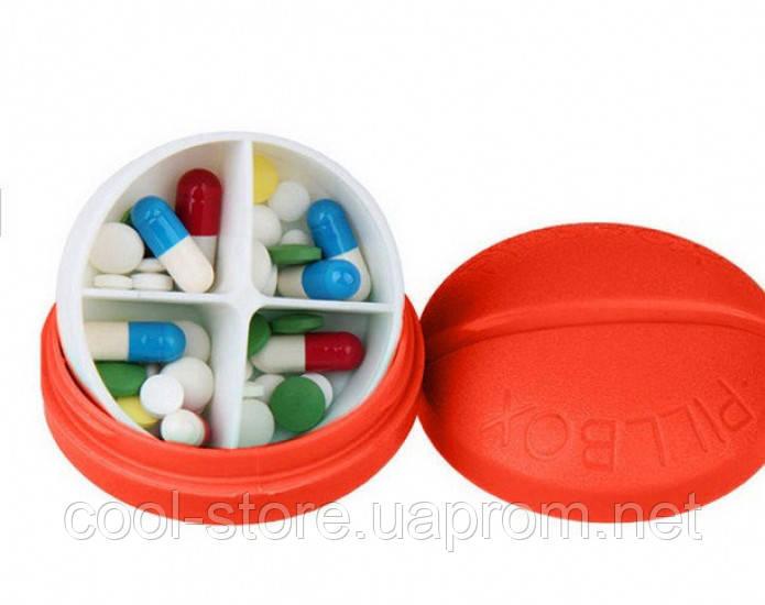 Контейнер для таблеток на 4 отделения красный