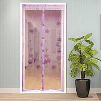 Антимоскитная сетка на раздельных магнитах от комаров розовая 210х100 см