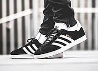 Мужские кроссовки Adidas Gazelle Black (Реплика)