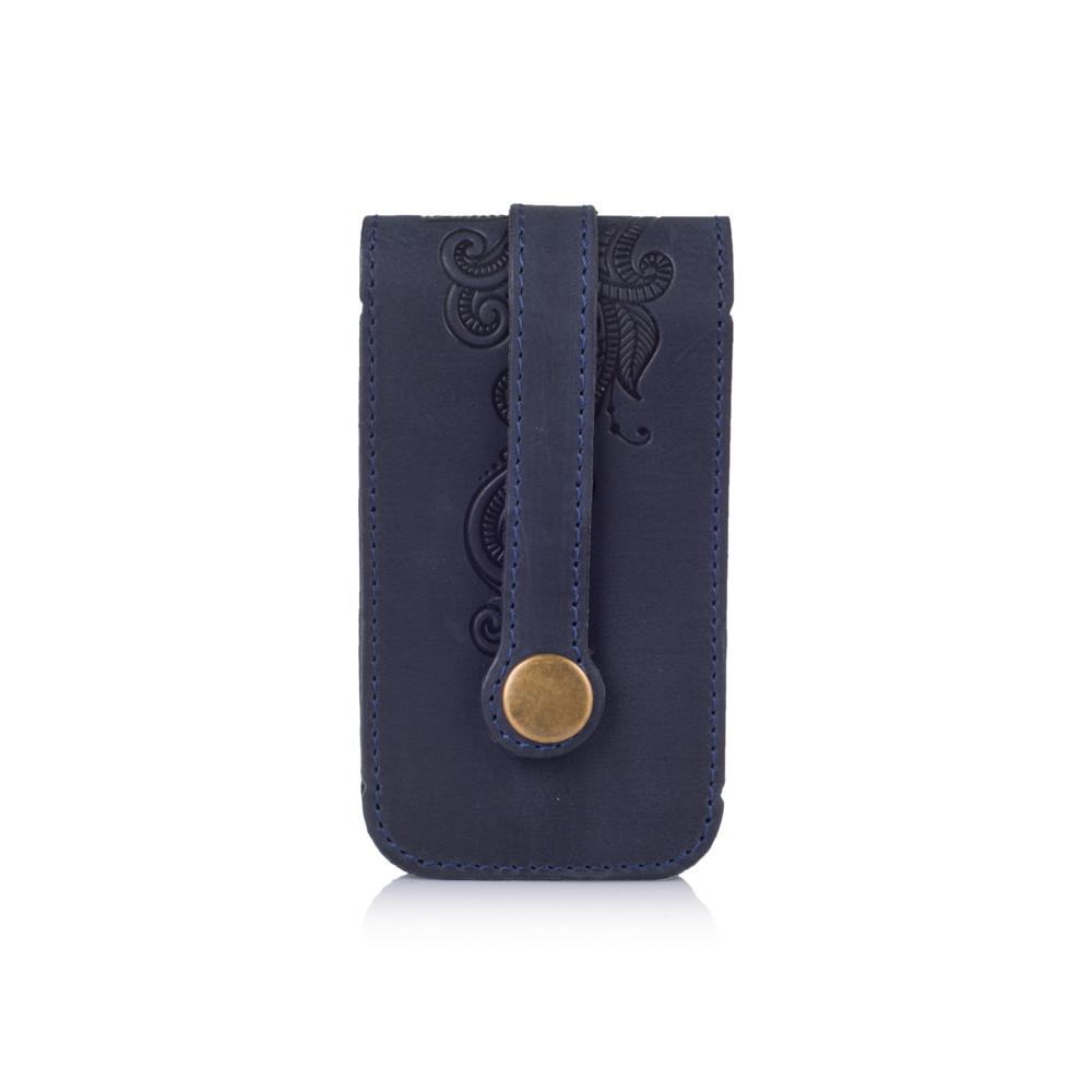 """Ключница с натуральной матовой кожи синего цвета с авторским художественным тиснением """"Mehendi Classic"""""""