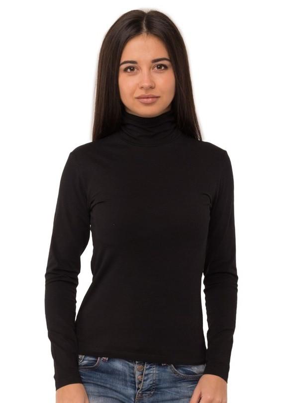 Черная водолазка женская большая с высоким горлом длинный рукав без рисунка хб стрейч трикотажная Украина