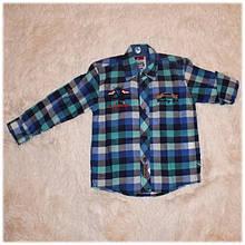 Рубашка детская на мальчика в клетку размер 10 116 122