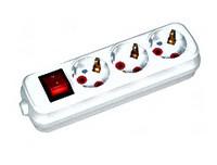 Колодка электрическая с заземлением и кнопкой Horoz Electric