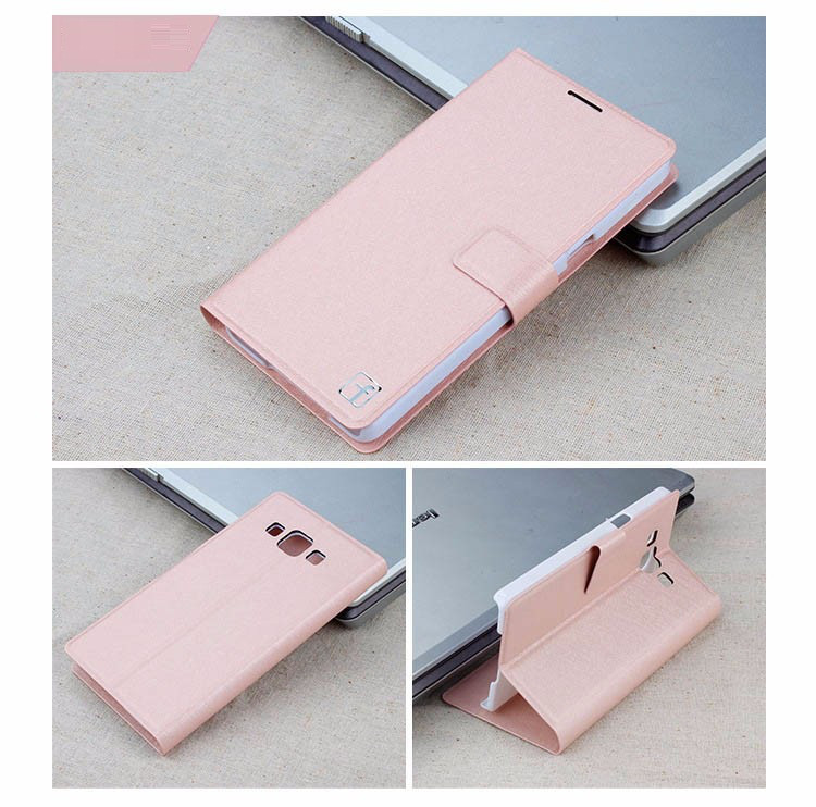Чехол Samsung A700 / A7 2015 книжка Flower Ultrathin розовое золото
