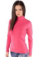 Водолазка (гольф) женская с высоким горлом цветная розовая длинный рукав хб стрейч трикотажная (Украина)