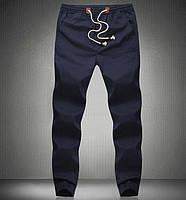 Хлопковые синие брюки на резинке
