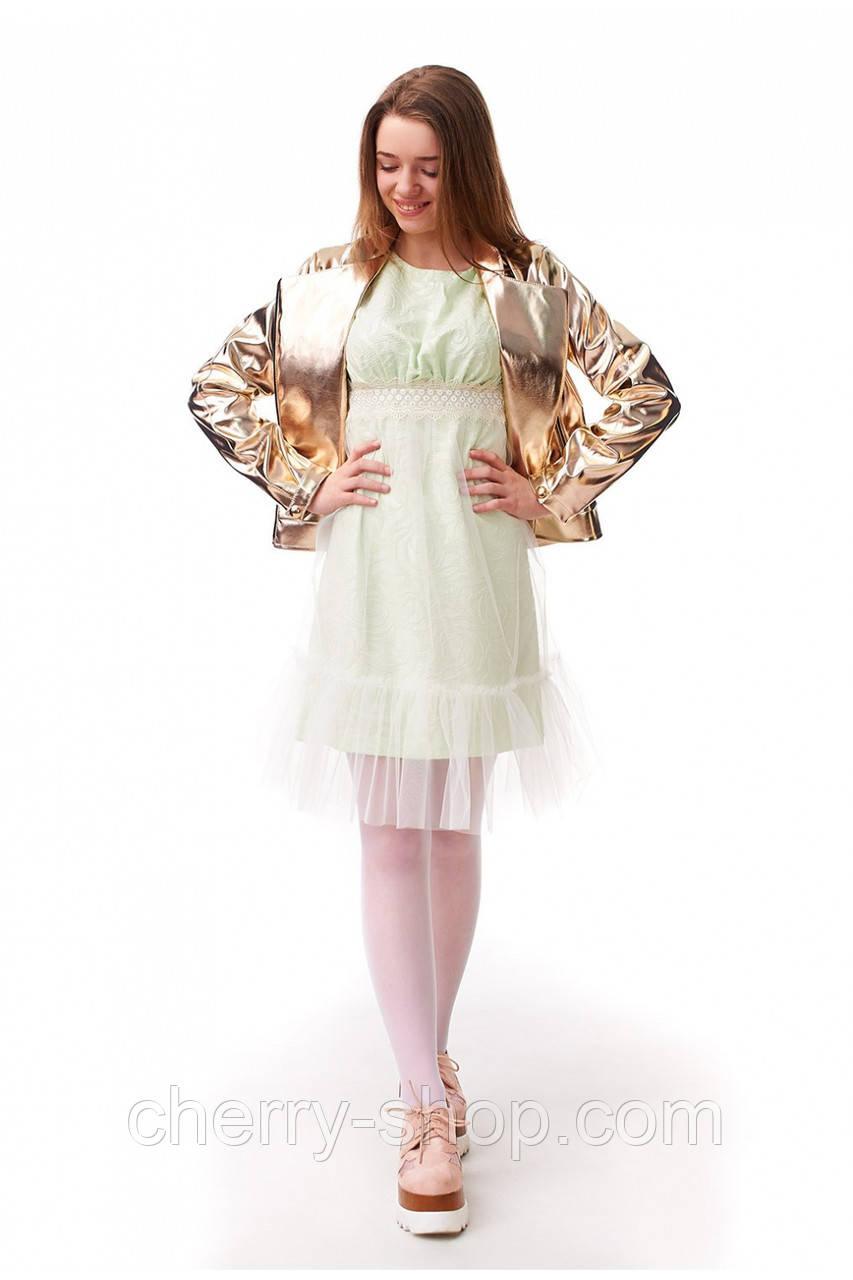 Золотистая курточка для девочки из эко-кожи