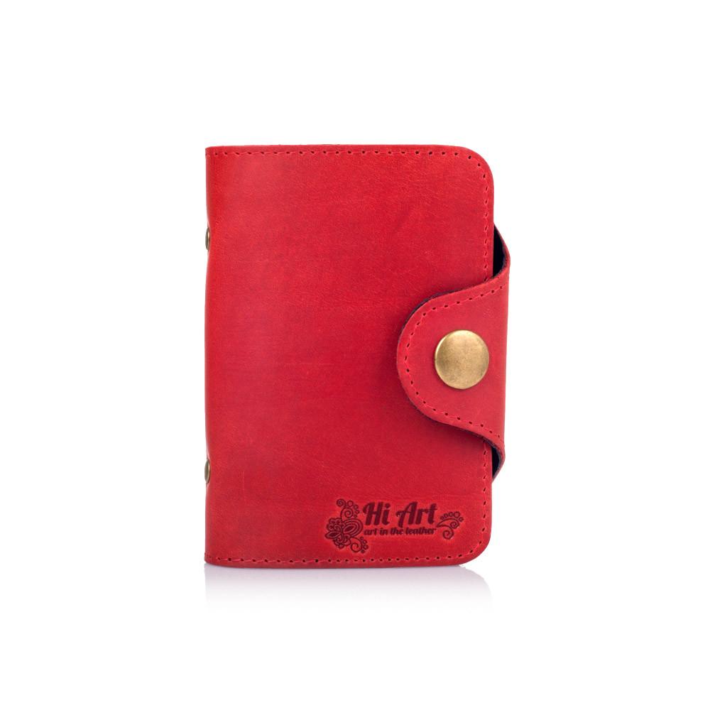 """Удобный кожаный картхолдер красного цвета с художественным тиснением """"Mehendi Classic"""""""