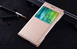 Чехол Samsung E500 / E5 книжка с окном S-View золотой