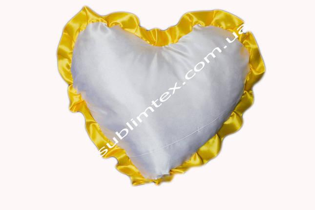 Подушка атласная,искусственный наполнитель,метод печати сублимация,форма сердца,цвет Рюши желтый, фото 2