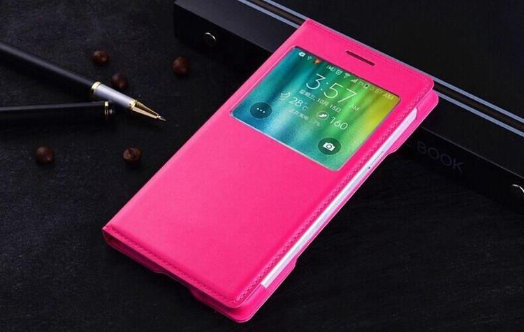 Чехол Samsung E500 / E5 книжка с окном S-View розовый