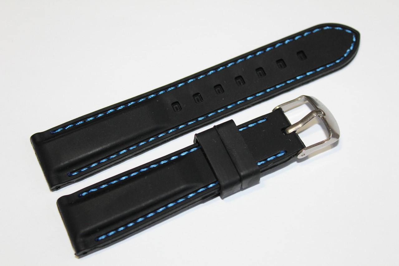 Каучуковый ремень для часов-черного цвета с синей прошивкой 20 мм