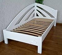 """Белая кровать """"Радуга"""" + накладной декор. Массив - ольха, береза, дуб."""