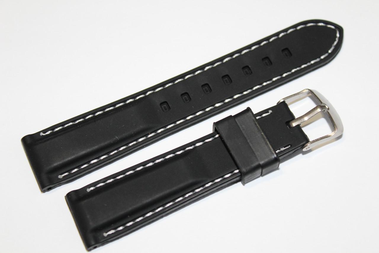 Каучуковый ремень для часов-черного цвета с белой прошивкой 20 мм