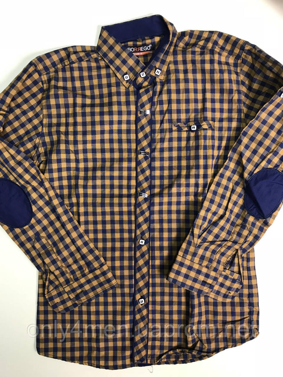 Рубашка горчица, синяя клетка с налокотниками  для мальчиков на рост 164см